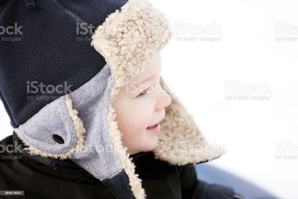 Boy in winter hat. stock photo