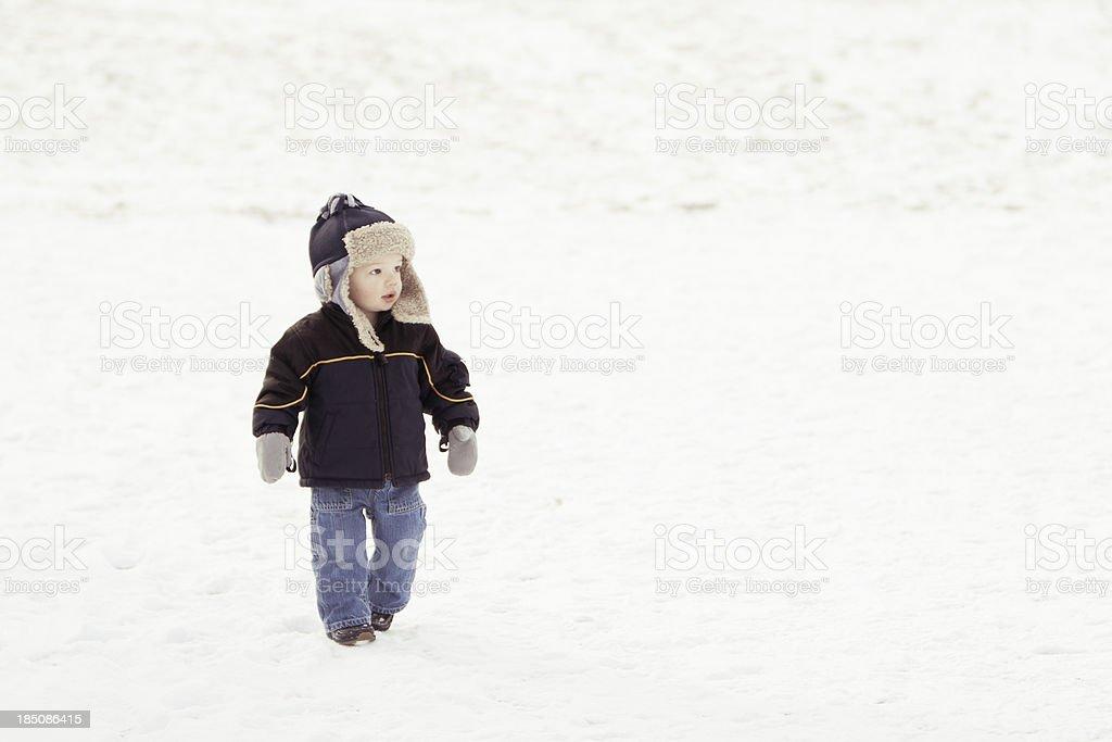 Boy in winter hat stock photo