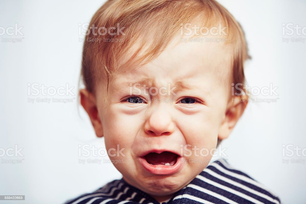 Boy is crying stock photo