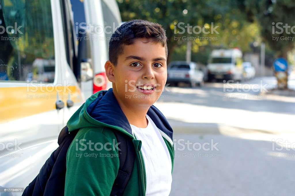 Boy Is Going To School stock photo