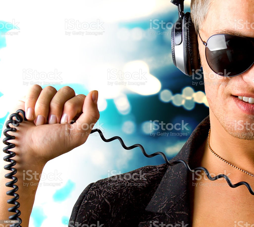 Boy is listening to music track royalty-free stock photo