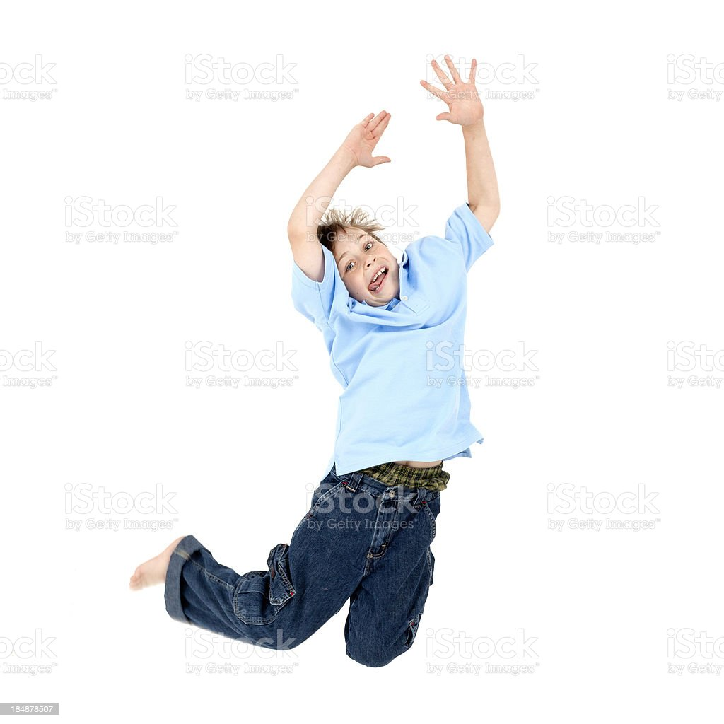 Boy Jumping on White Background royalty-free stock photo