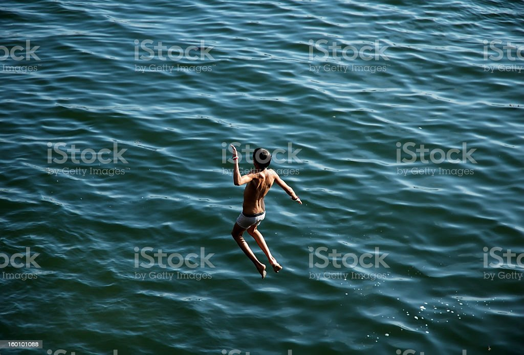 Boy Jumping stock photo