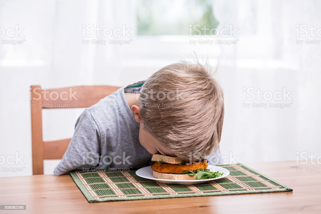 Boy landing face in food stock photo