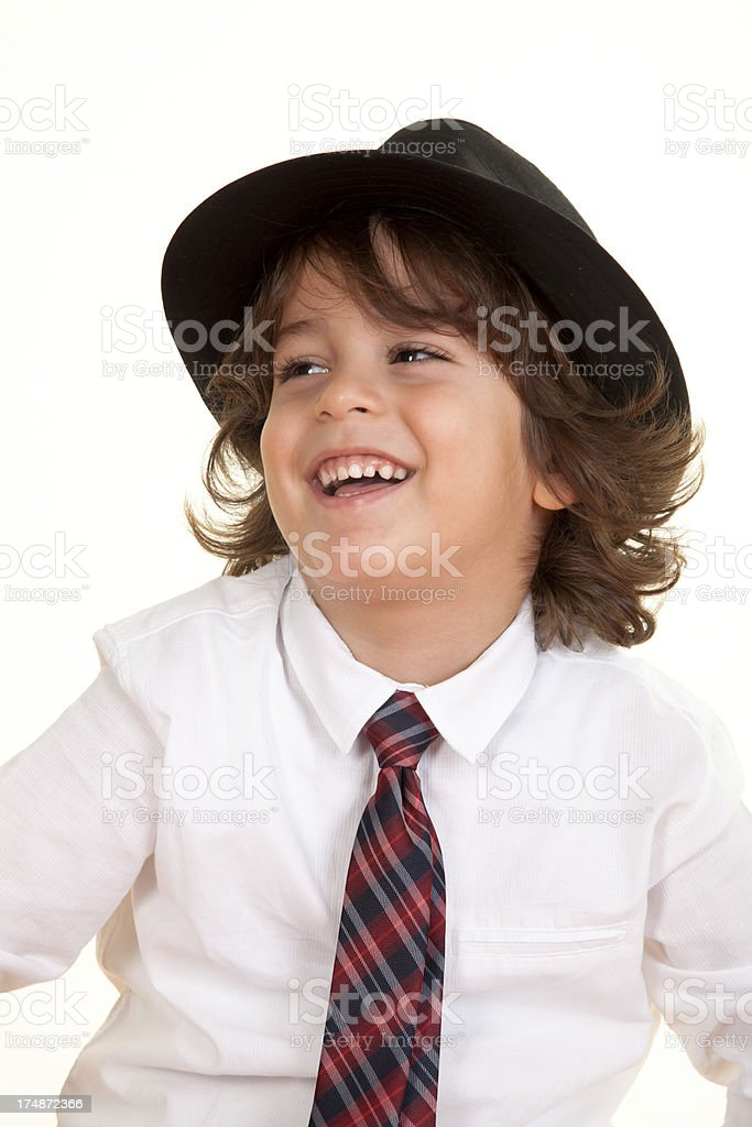 Boy laughing with hat royalty-free stock photo