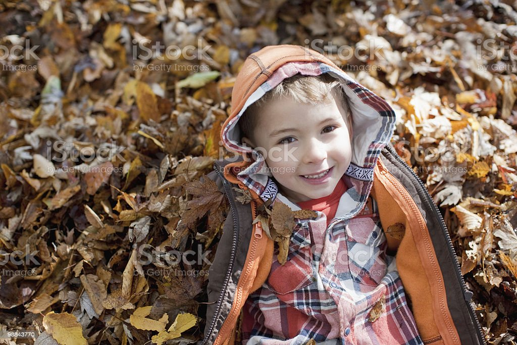 Boy laying in pile of autumn leaves stock photo