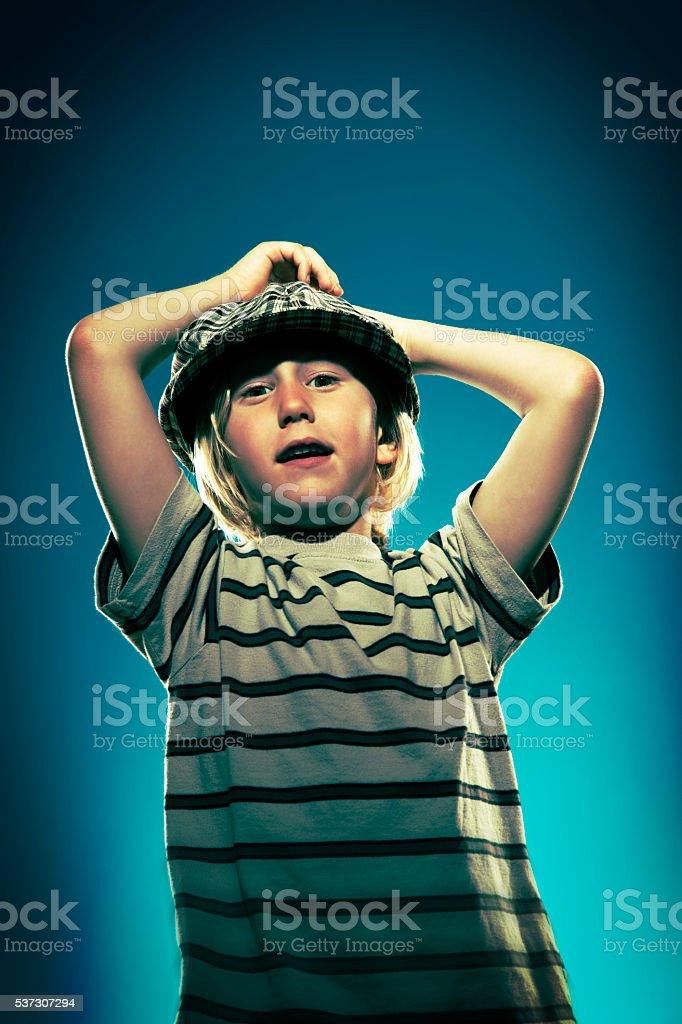 Boy looking at the camera stock photo