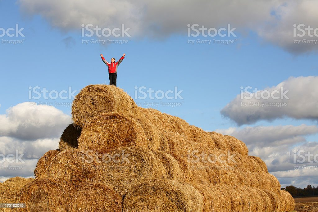 Boy looking at the sky stock photo