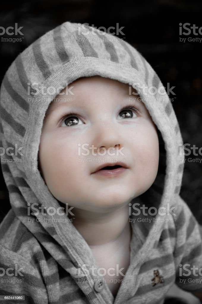 Boy looking up stock photo