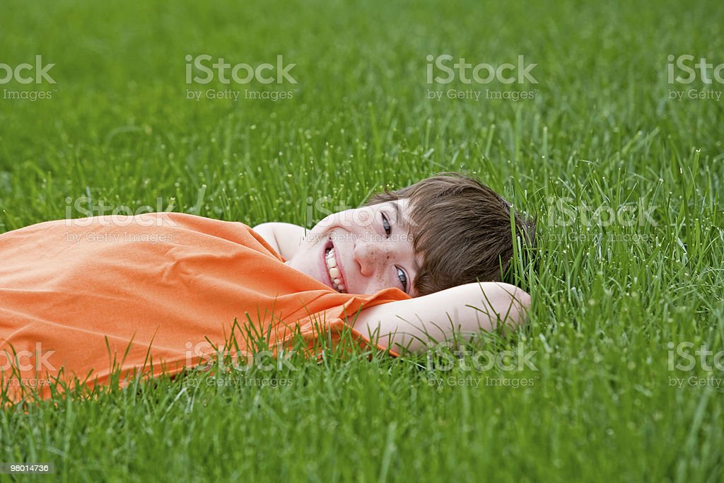 Boy Lying in the Grass stock photo