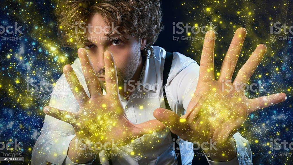 boy magician stock photo