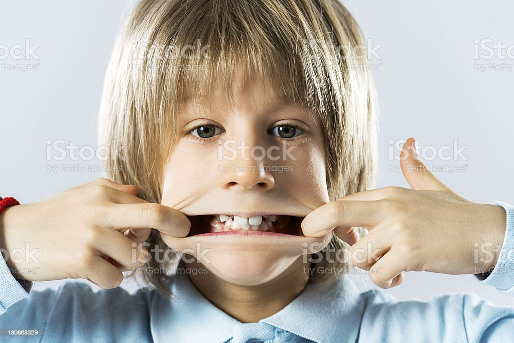 Boy making a face. royalty-free stock photo