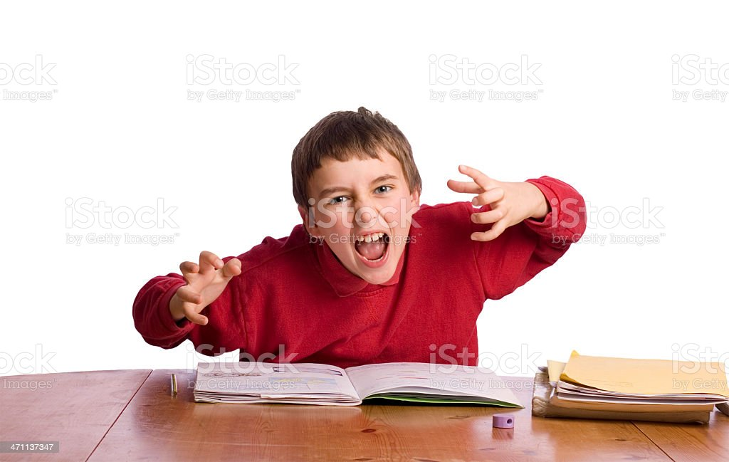 Boy monster with homework royalty-free stock photo