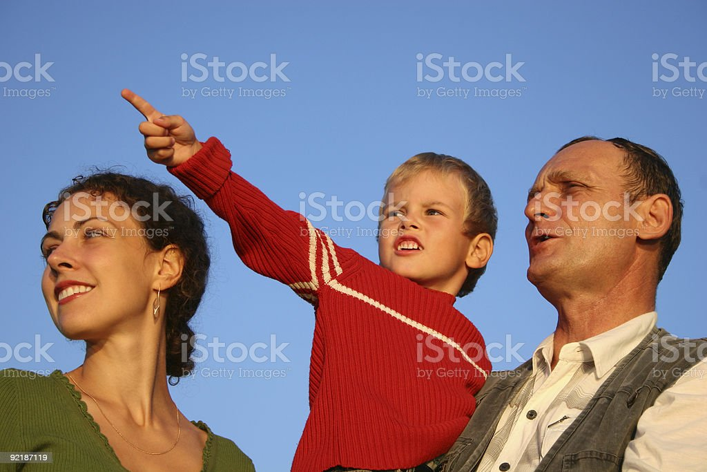 boy, mother and grandfather stock photo