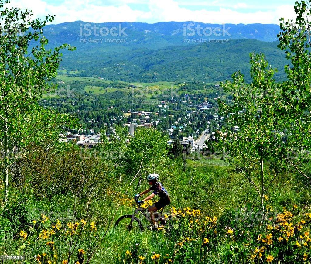 Boy Mountain Bikes Over Town stock photo