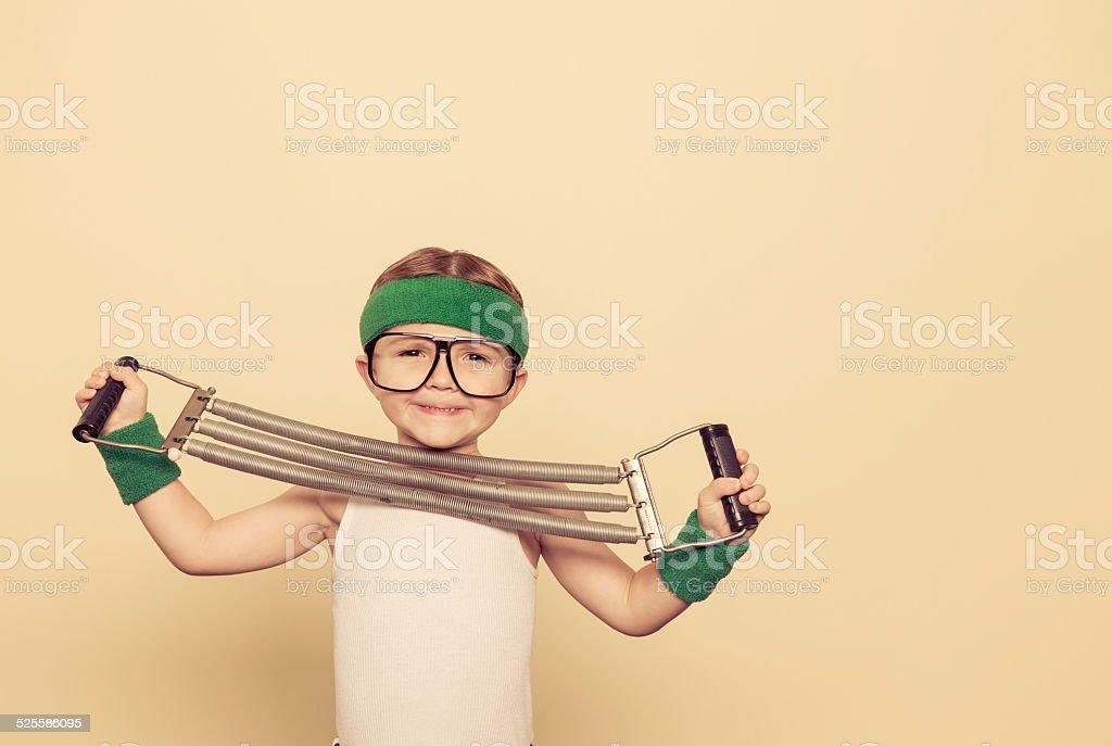Boy Nerd Exercise stock photo
