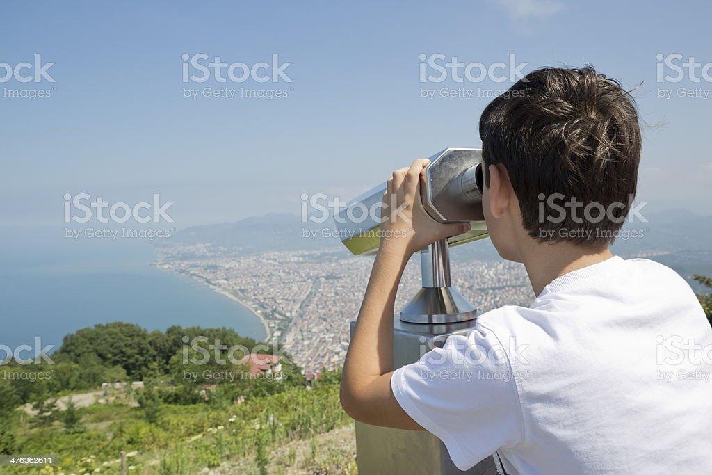 Boy Observing the City of Ordu, Turkey royalty-free stock photo