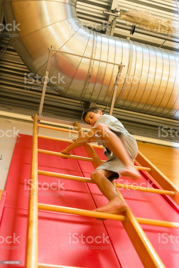 Boy of Eleven Descending, Gymnastics Ladder in School Gymnasium, Europe stock photo