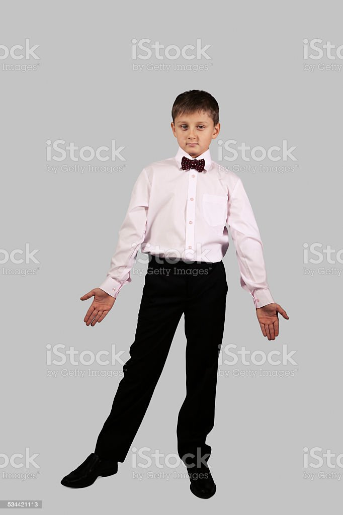 boy on a gray background (06) stock photo