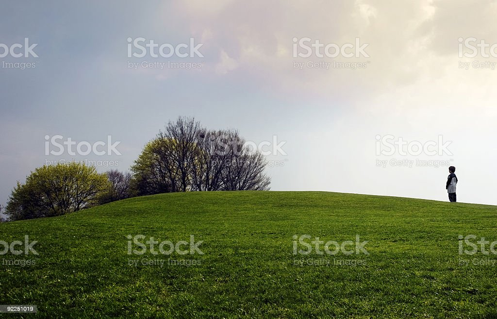 boy on a hill royalty-free stock photo