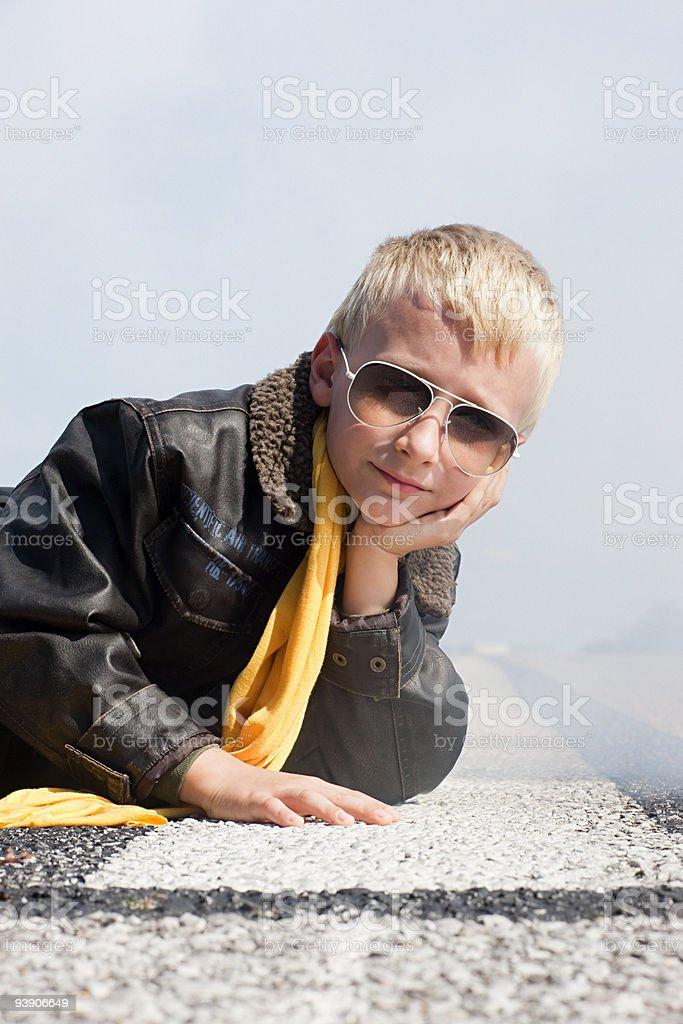 Boy on a runway royalty-free stock photo