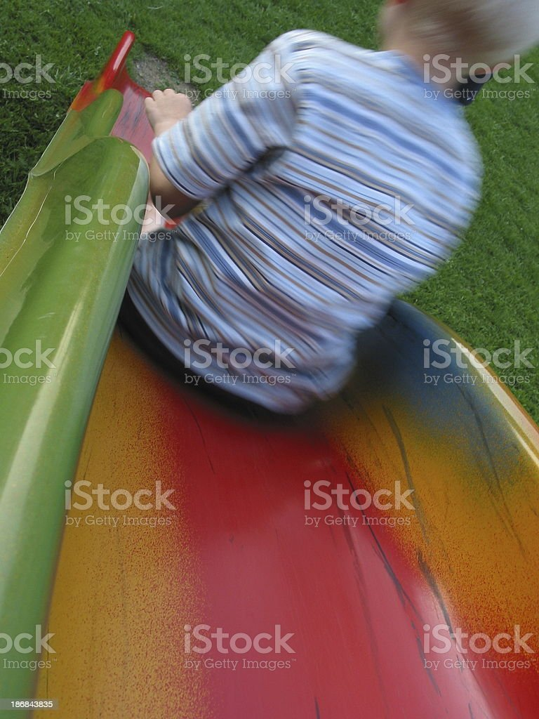 boy on a slide royalty-free stock photo