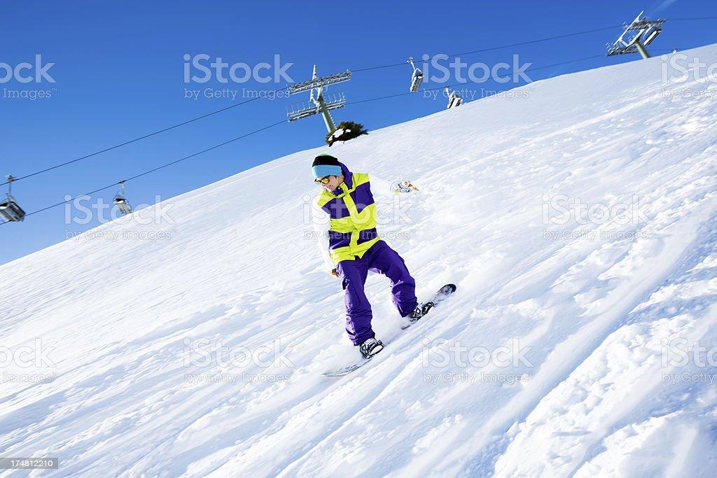 Boy on a snowboard royalty-free stock photo