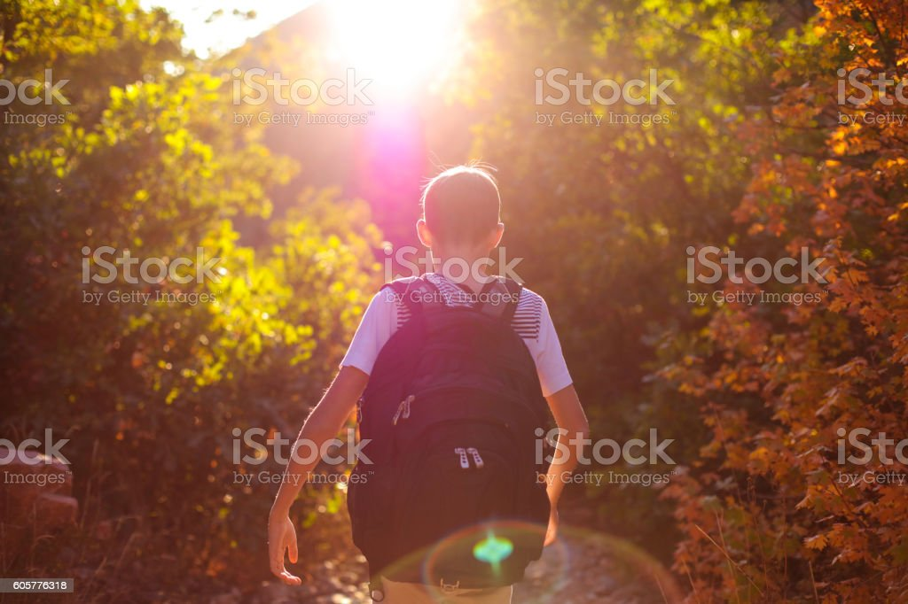 Boy on autumn hike stock photo