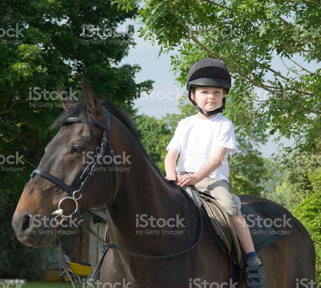 Boy on British thoroughbred horse royalty-free stock photo