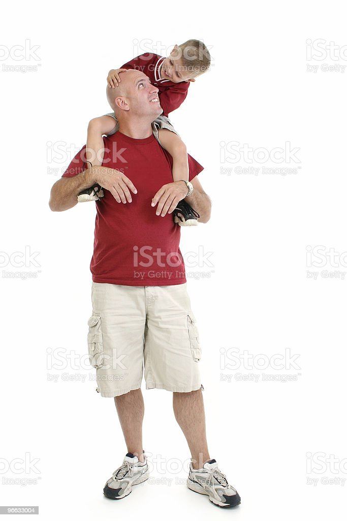 Boy On Father's Shoulders royalty-free stock photo