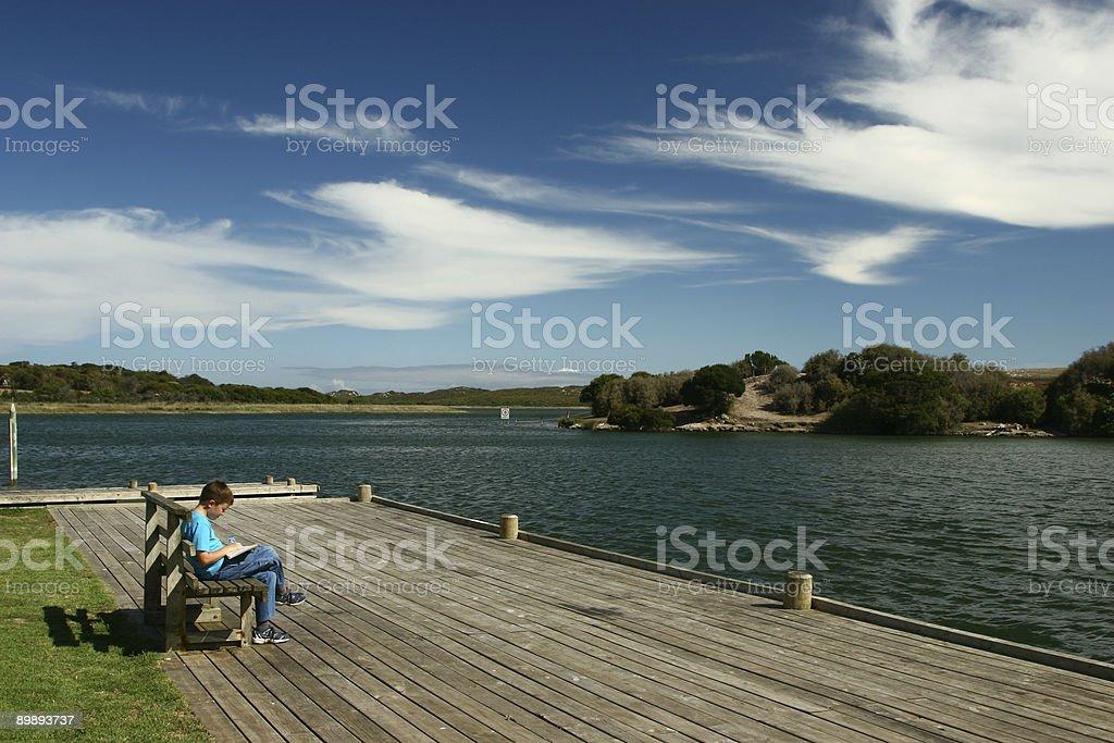 Boy on Seat Reading royalty-free stock photo