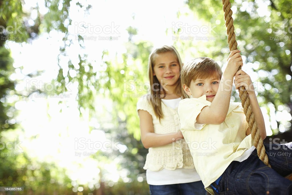 Boy on swing royalty-free stock photo