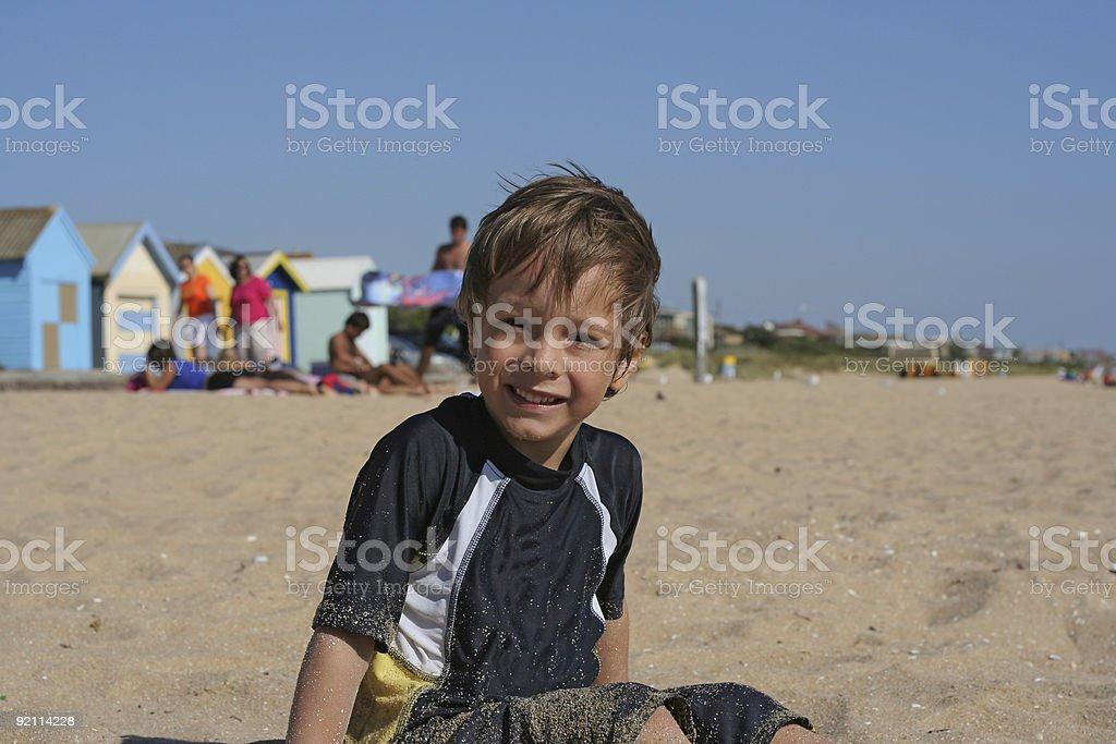 Boy on the beach royalty-free stock photo