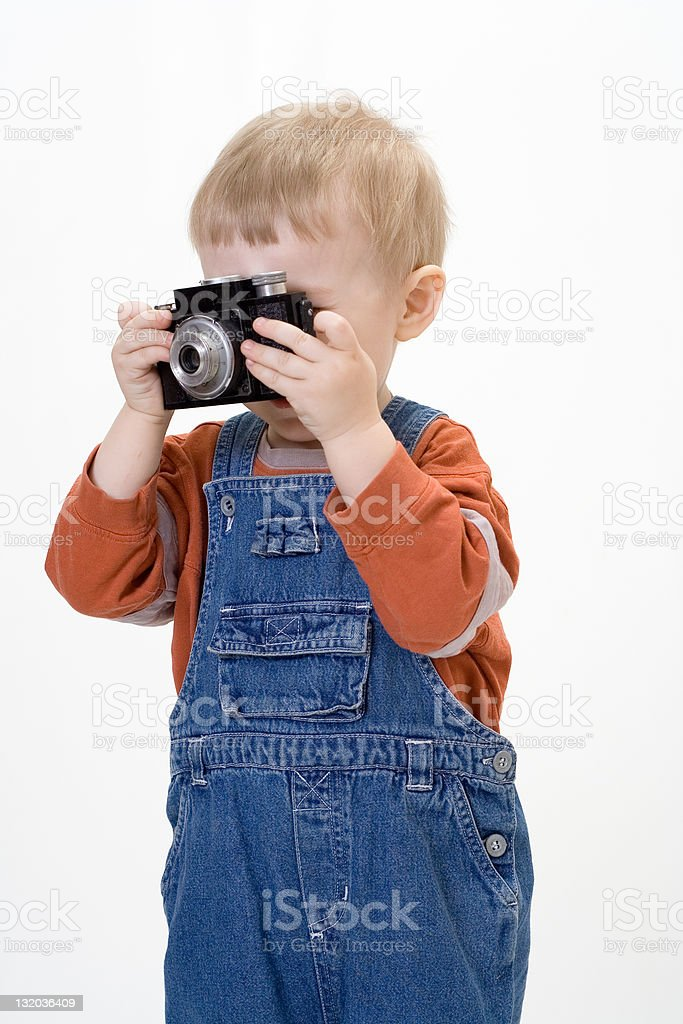 Boy on white background stock photo