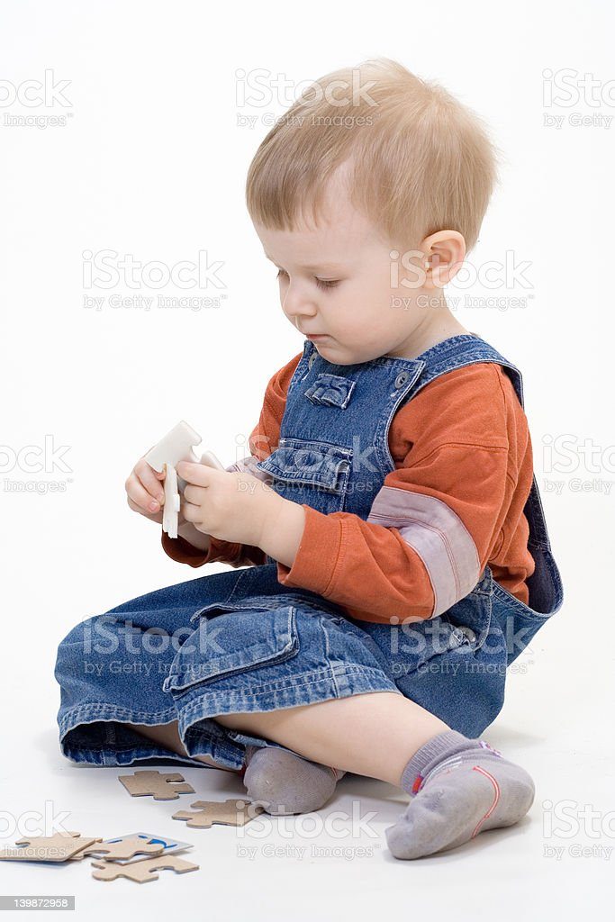 Boy on white background stock photo