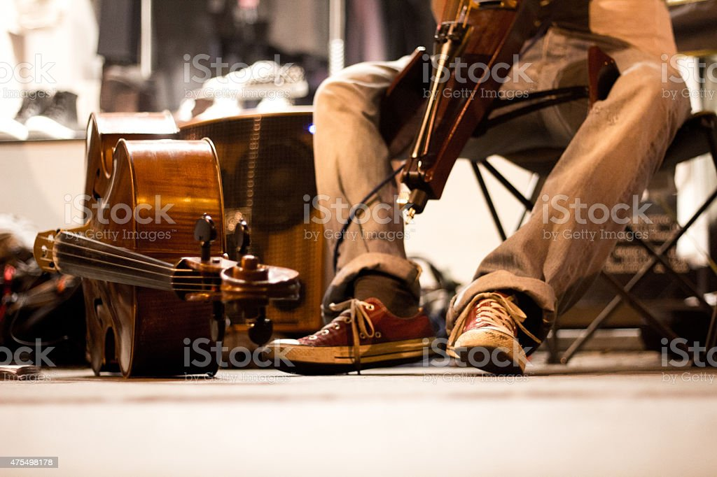 Boy play the musical instrument stock photo