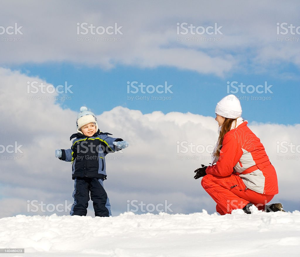 Boy played with mother royalty-free stock photo