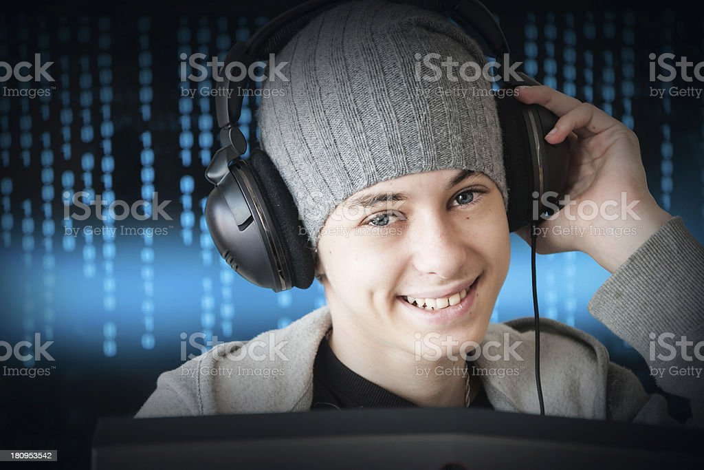 Boy playing computer game royalty-free stock photo