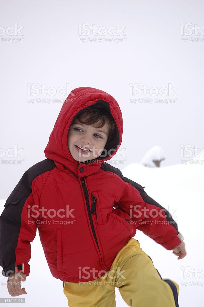 Boy playing in the snow royalty-free stock photo
