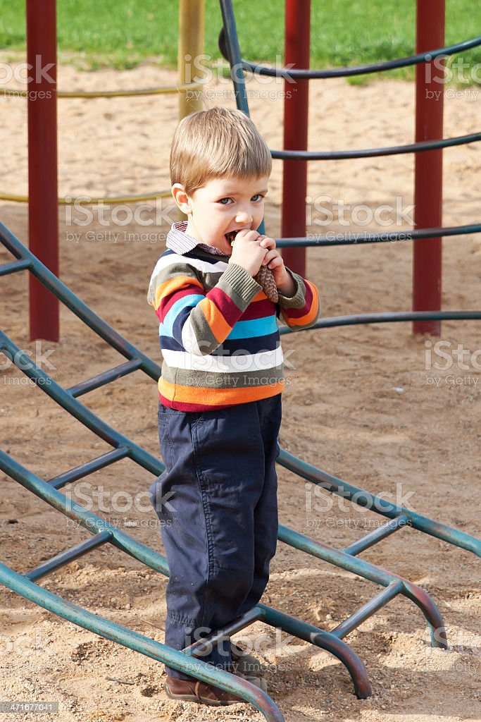 Boy playing on the playground royalty-free stock photo