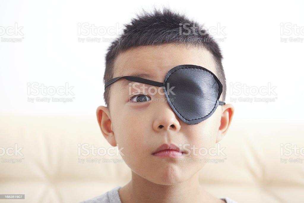 Boy playing pirate stock photo