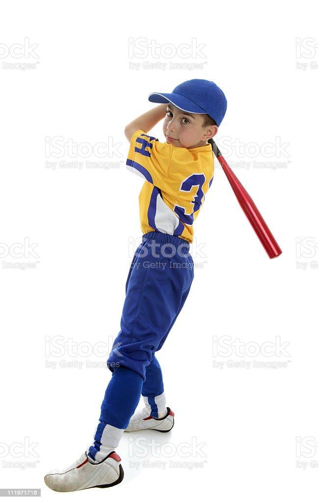 Boy playing sport baseball or softball royalty-free stock photo