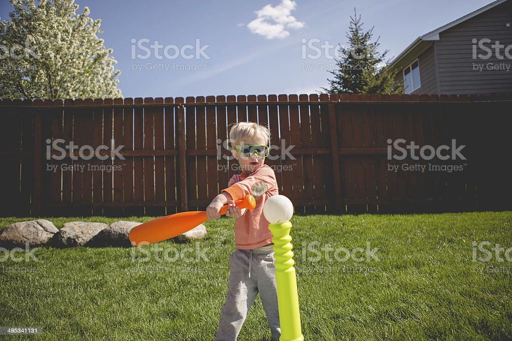 Boy Playing T-Ball stock photo
