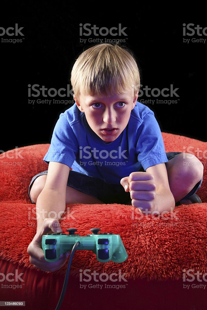 Boy Playing Video Games royalty-free stock photo
