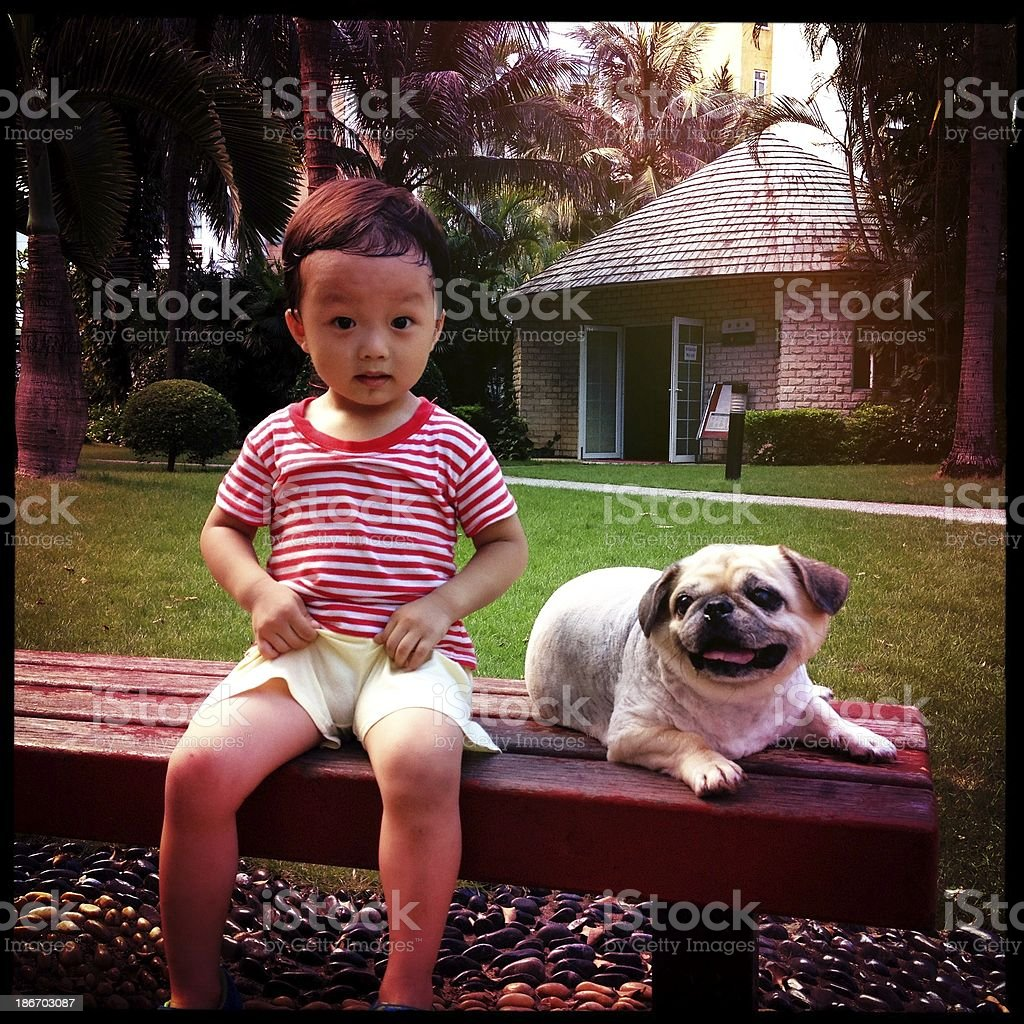 Boy playing with dog royalty-free stock photo