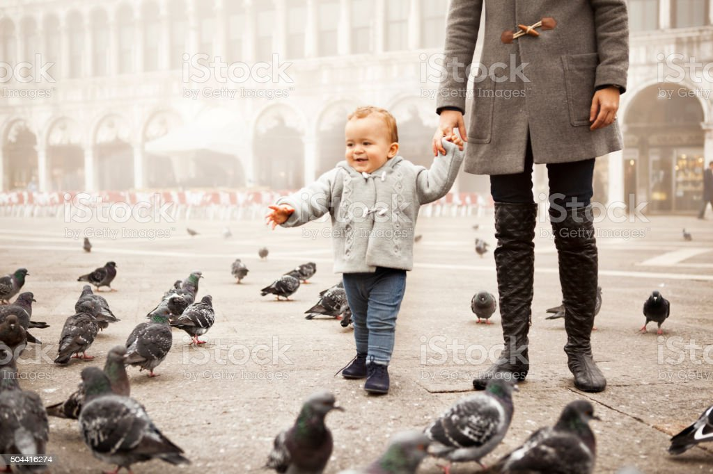 Boy playing with pigeons in Venice stock photo