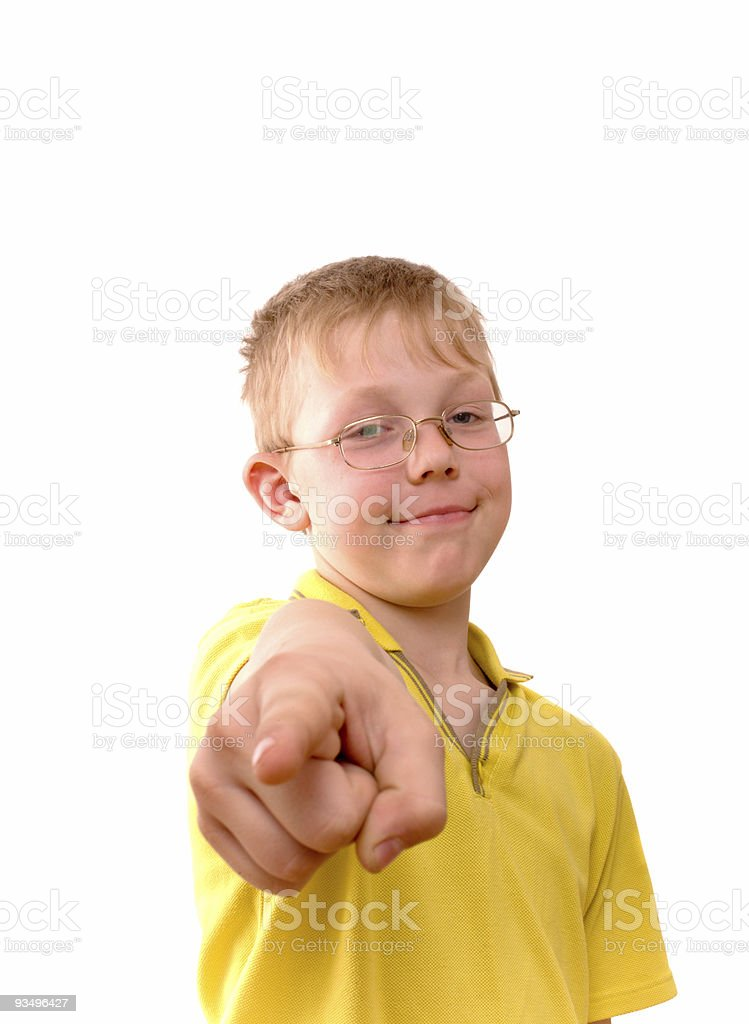 Boy pointing his finger right at you stock photo