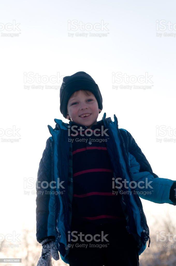 Boy portrait in winter stock photo