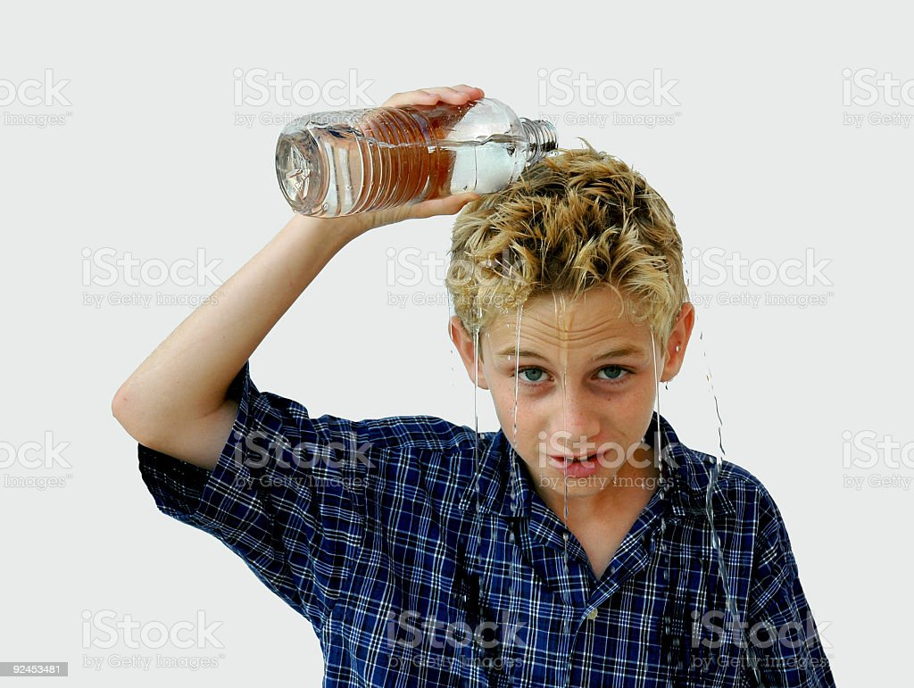 Boy Pouring Water (2) stock photo