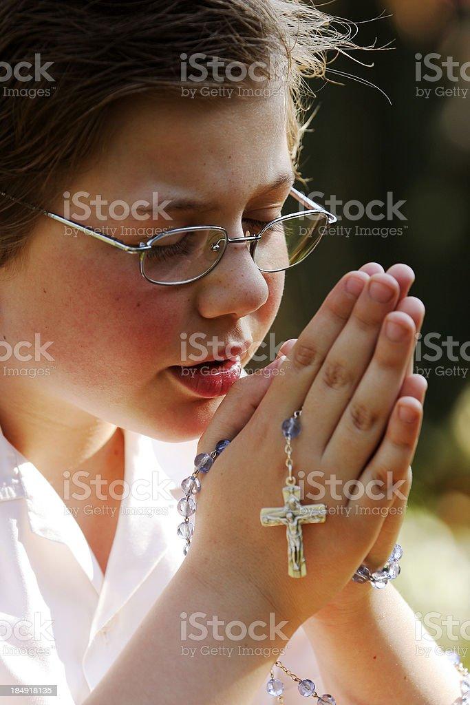 Boy Praying 2 stock photo
